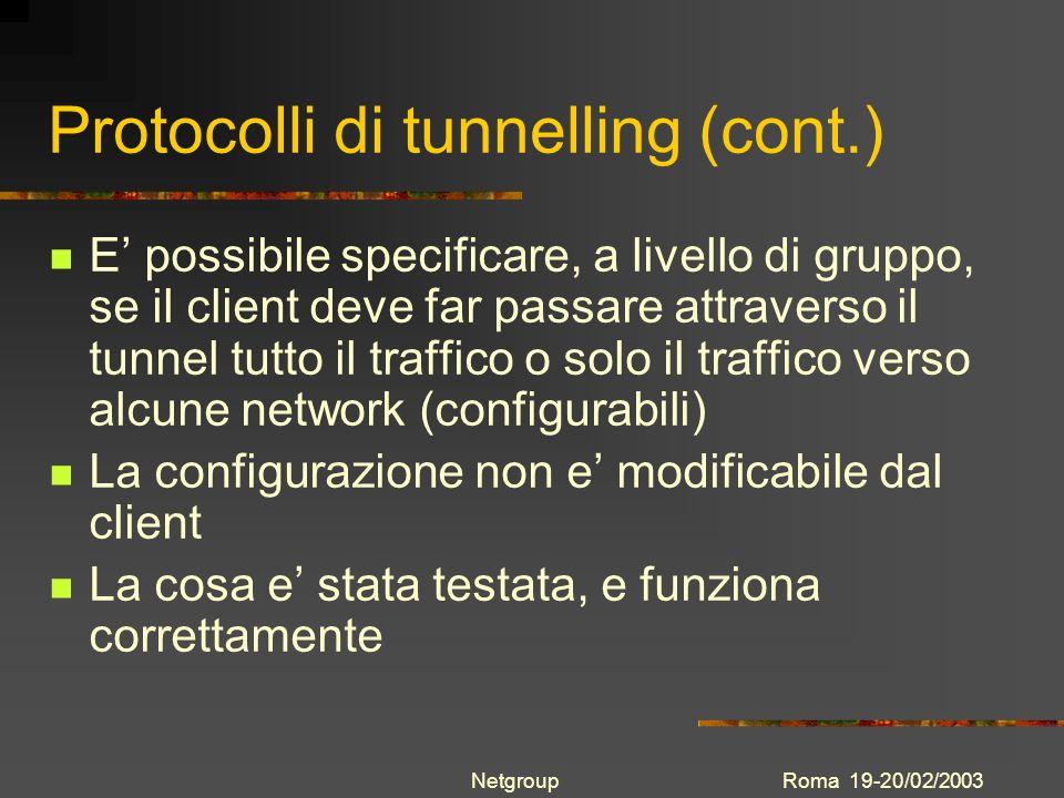 Protocolli di tunnelling (cont.)