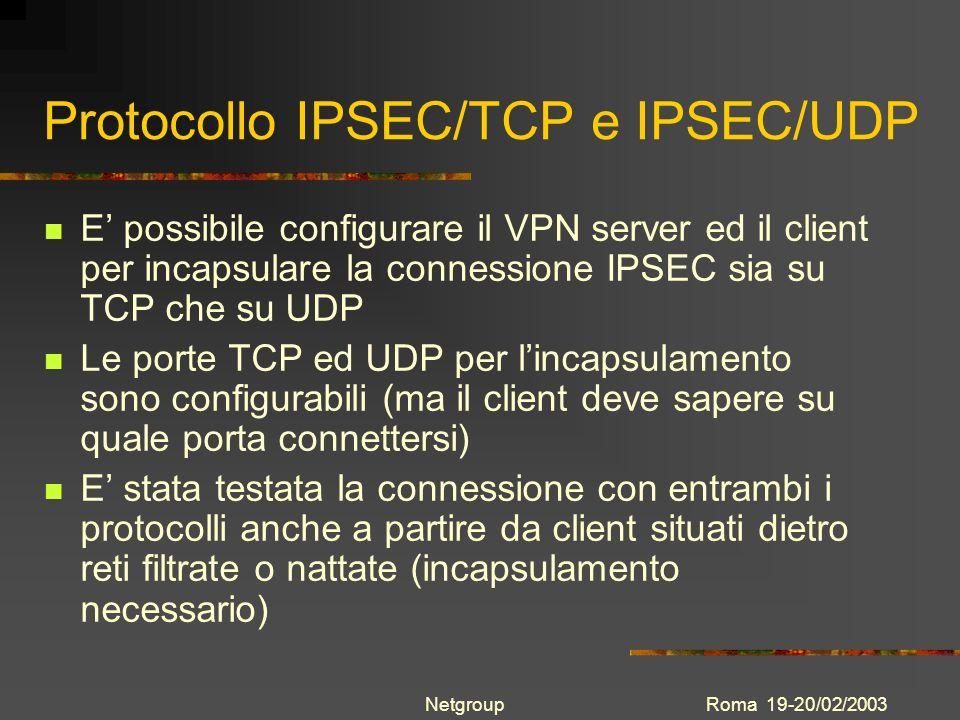 Protocollo IPSEC/TCP e IPSEC/UDP