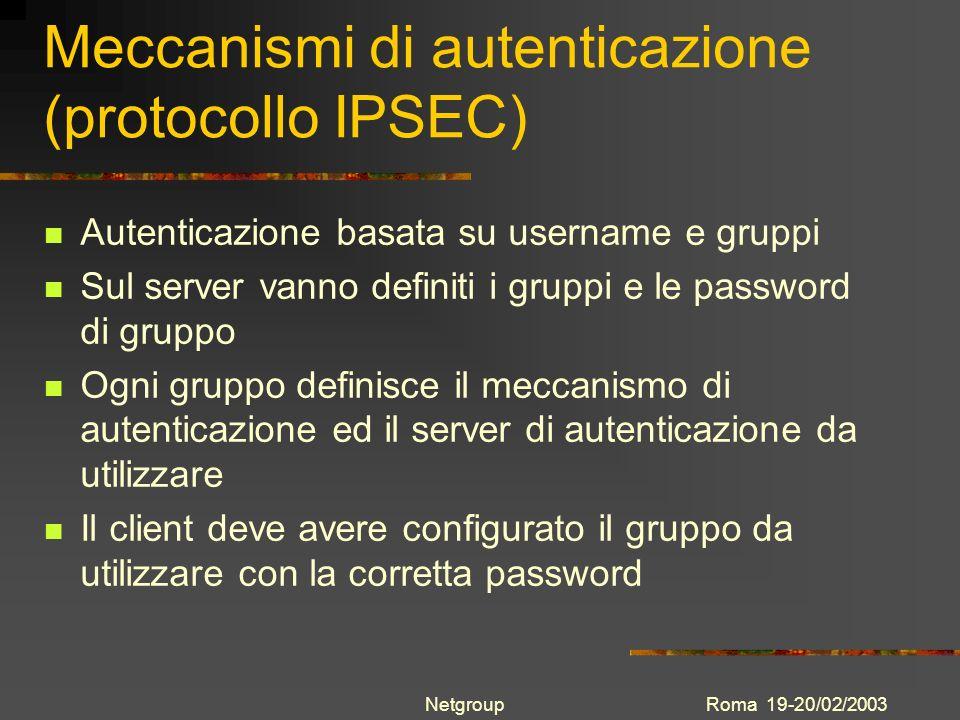 Meccanismi di autenticazione (protocollo IPSEC)
