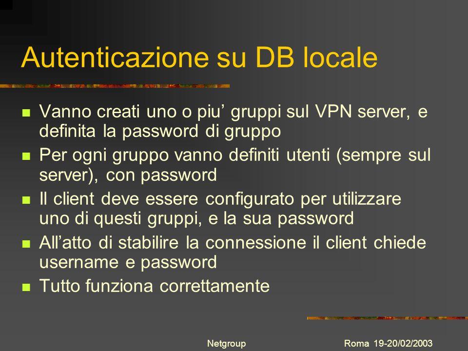 Autenticazione su DB locale