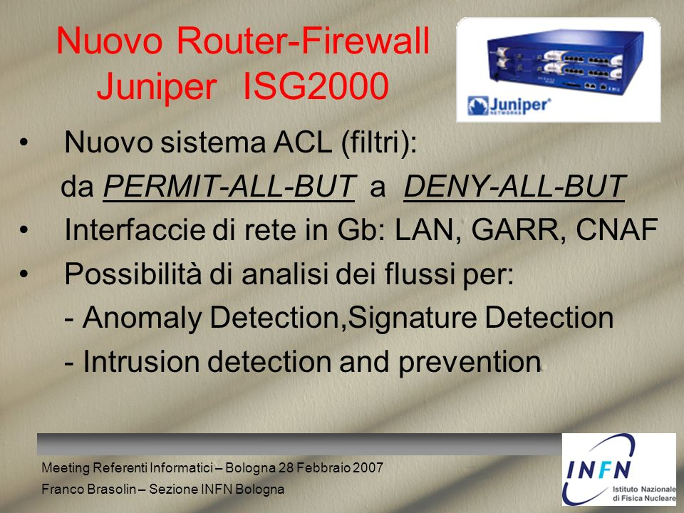 Nuovo Router-Firewall Juniper ISG2000