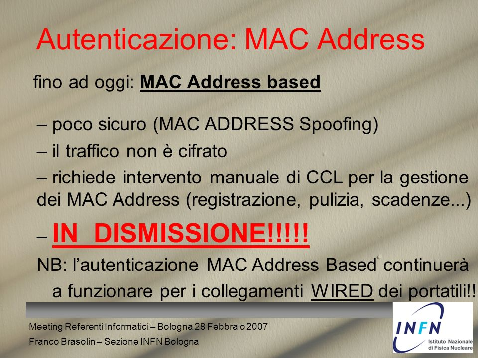 Autenticazione: MAC Address