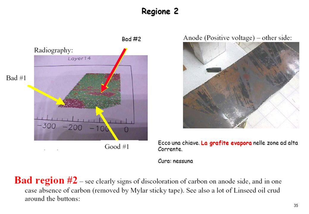 Regione 2 Bad #2 Ecco una chiave. La grafite evapora nelle zone ad alta Corrente. Cura: nessuna