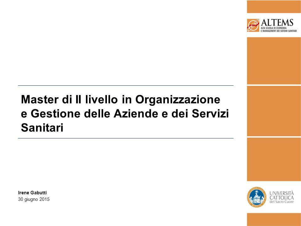 Master di II livello in Organizzazione e Gestione delle Aziende e dei Servizi Sanitari