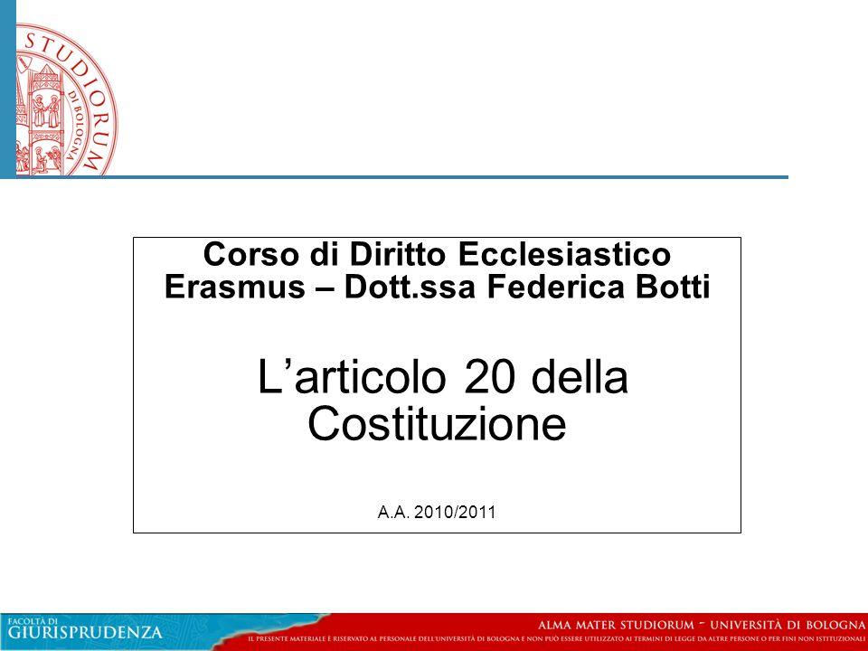 Corso di Diritto Ecclesiastico Erasmus – Dott.ssa Federica Botti