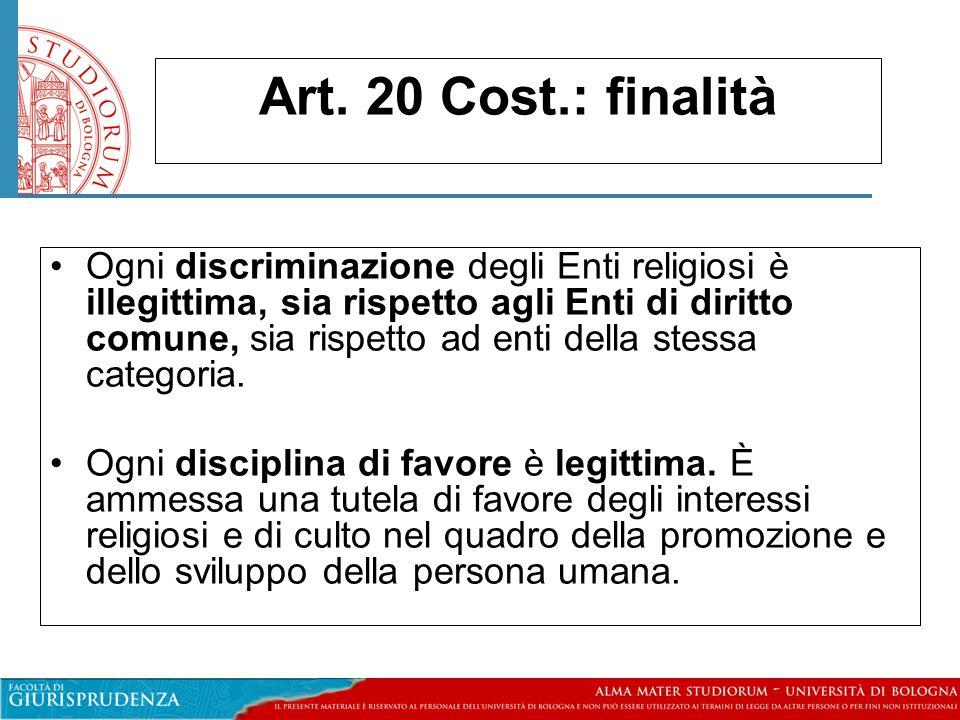 Art. 20 Cost.: finalità