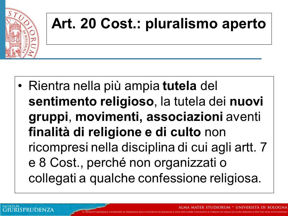 Art. 20 Cost.: pluralismo aperto