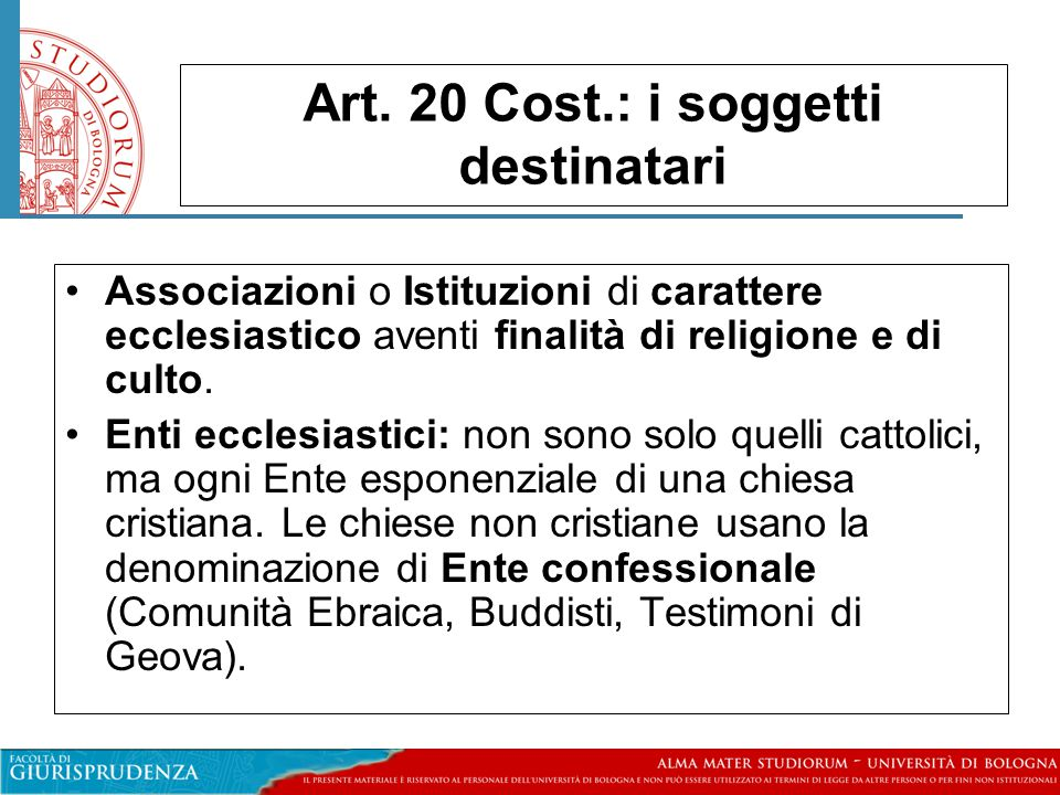 Art. 20 Cost.: i soggetti destinatari