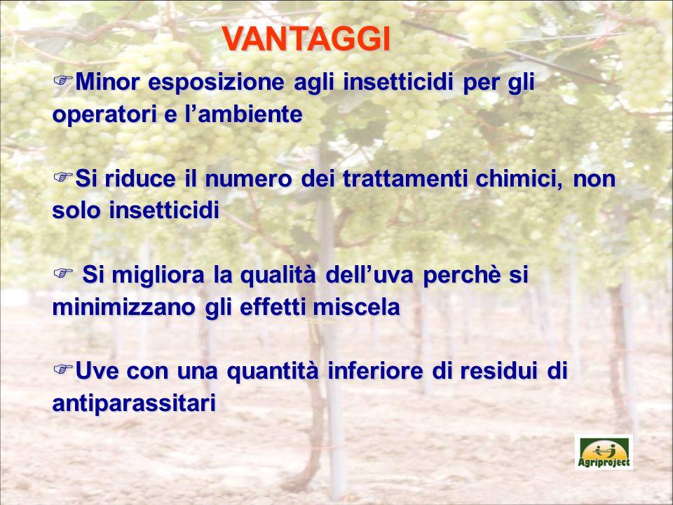 VANTAGGI Minor esposizione agli insetticidi per gli operatori e l'ambiente. Si riduce il numero dei trattamenti chimici, non solo insetticidi.
