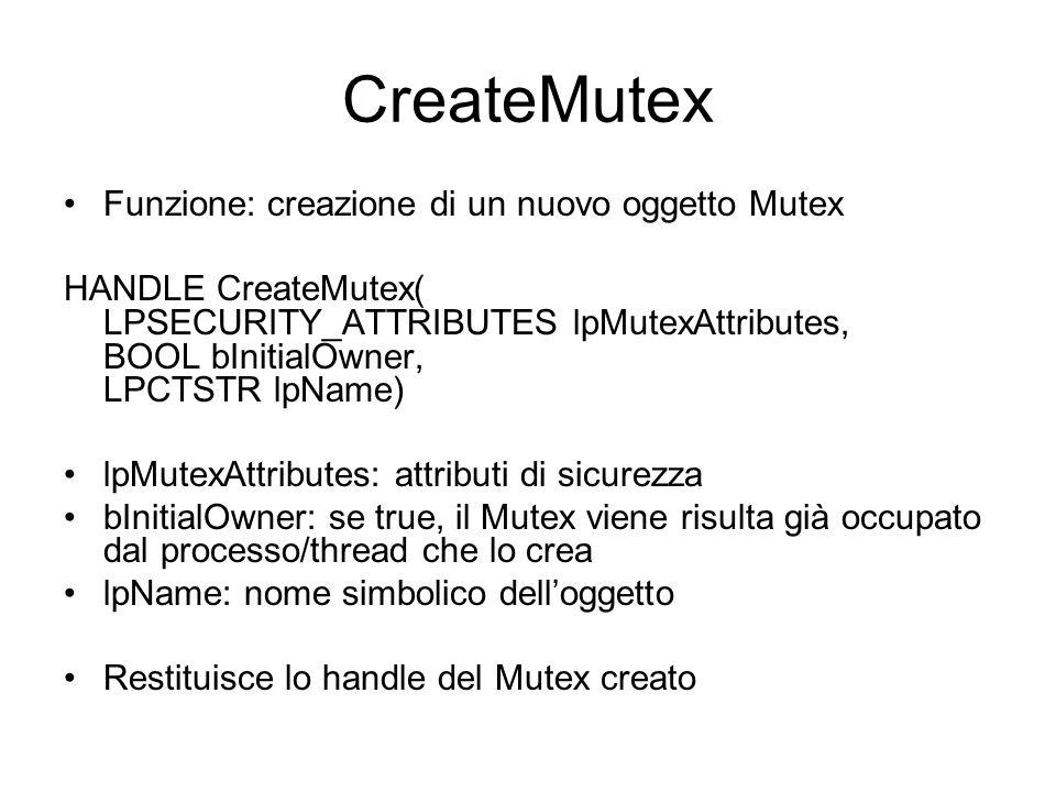 CreateMutex Funzione: creazione di un nuovo oggetto Mutex