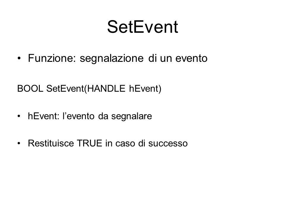 SetEvent Funzione: segnalazione di un evento