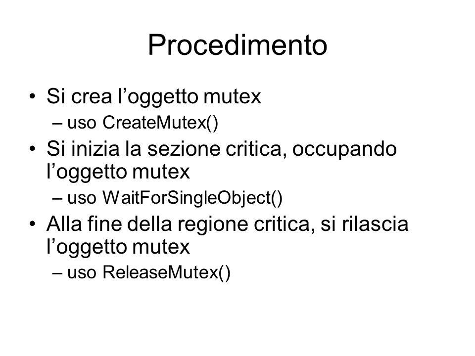 Procedimento Si crea l'oggetto mutex