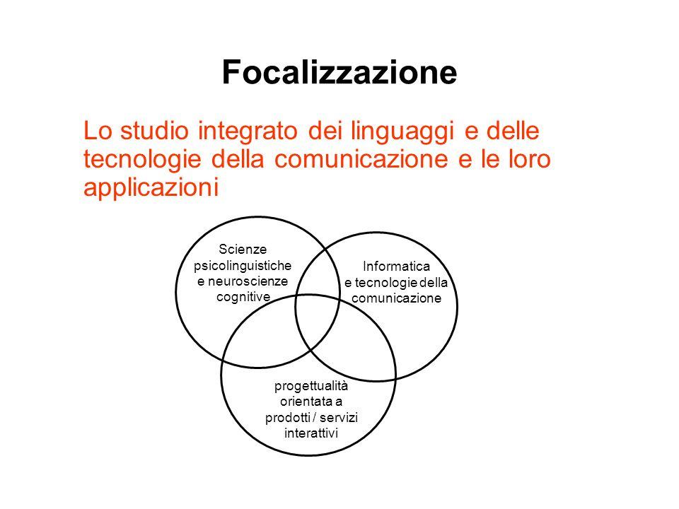 Focalizzazione Lo studio integrato dei linguaggi e delle tecnologie della comunicazione e le loro applicazioni.