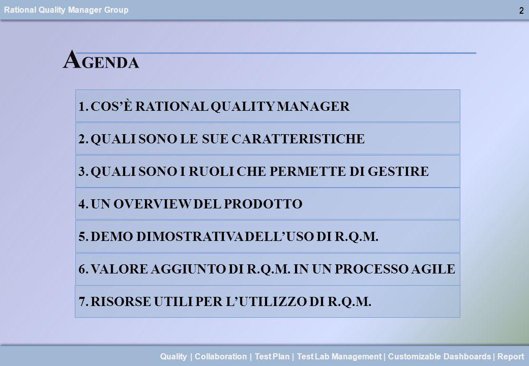 AGENDA COS'È RATIONAL QUALITY MANAGER
