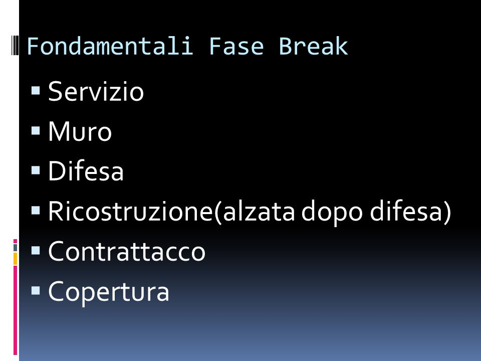 Fondamentali Fase Break