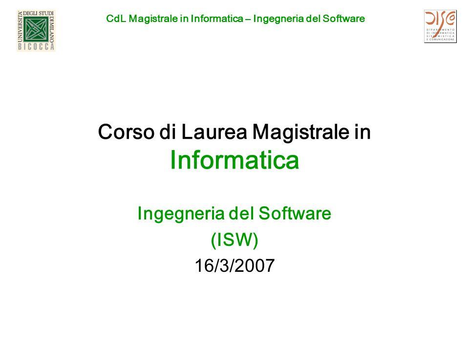 Corso di Laurea Magistrale in Informatica