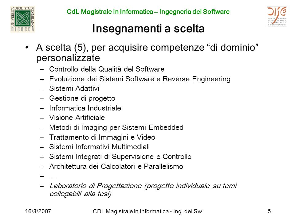 CDL Magistrale in Informatica - Ing. del Sw