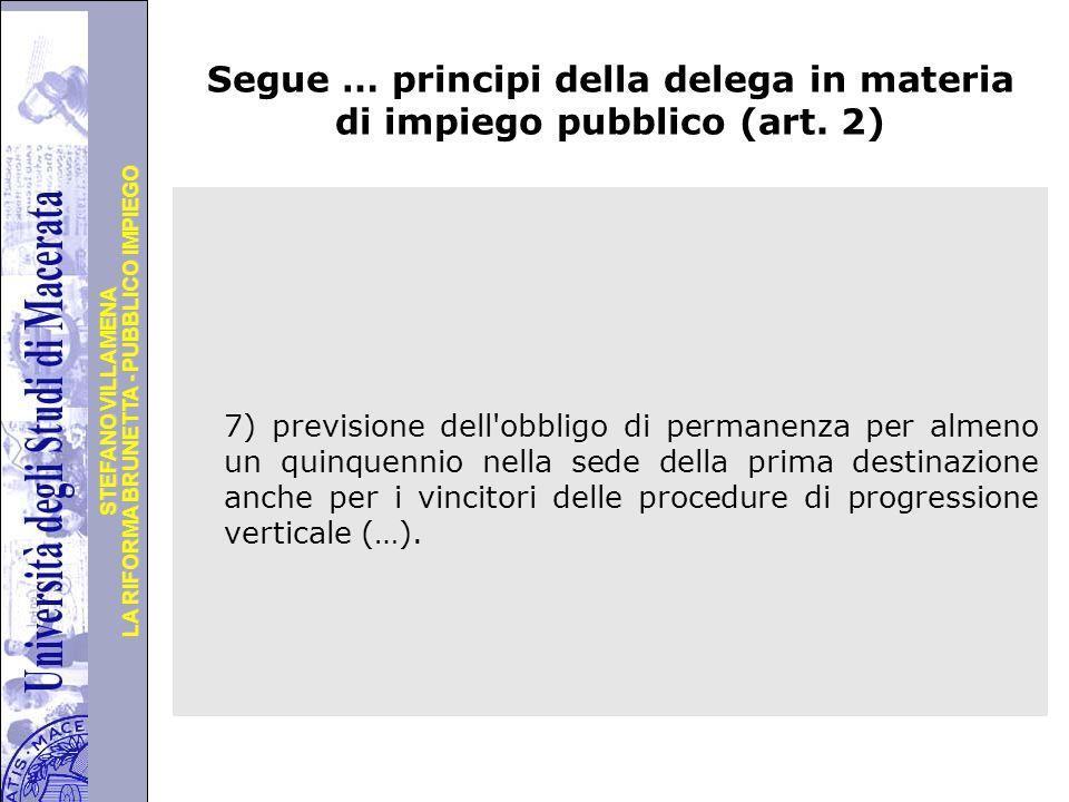 Segue … principi della delega in materia di impiego pubblico (art. 2)