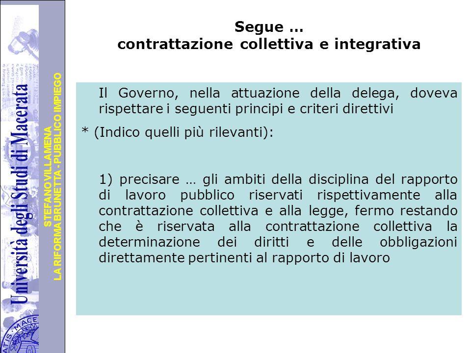 Segue … contrattazione collettiva e integrativa