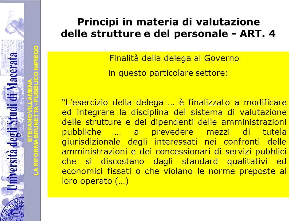 Principi in materia di valutazione delle strutture e del personale - ART. 4