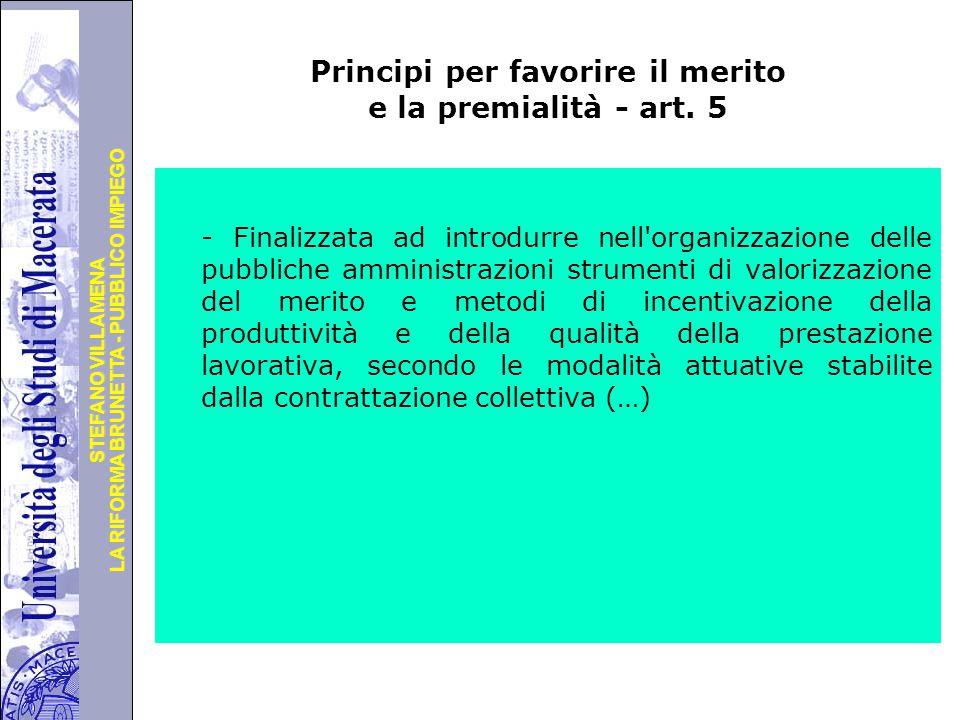 Principi per favorire il merito e la premialità - art. 5