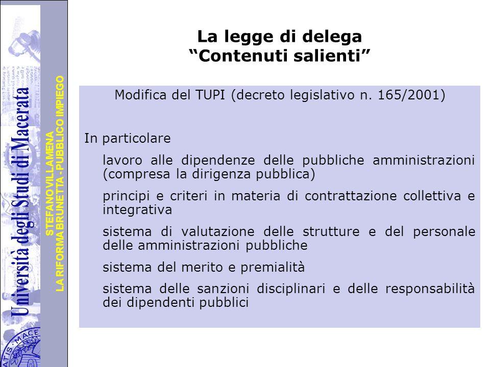 La legge di delega Contenuti salienti