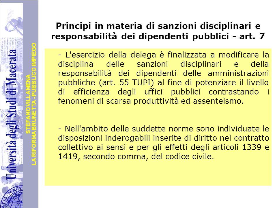 Principi in materia di sanzioni disciplinari e responsabilità dei dipendenti pubblici - art. 7