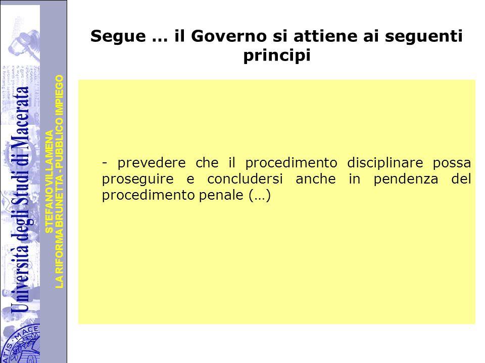 Segue … il Governo si attiene ai seguenti principi