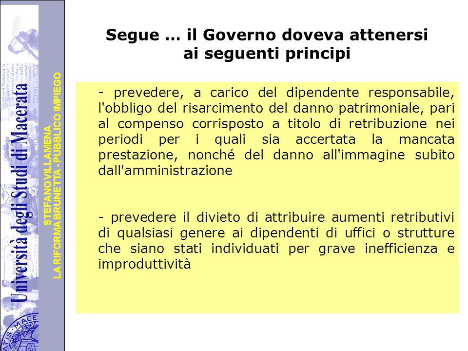 Segue … il Governo doveva attenersi ai seguenti principi