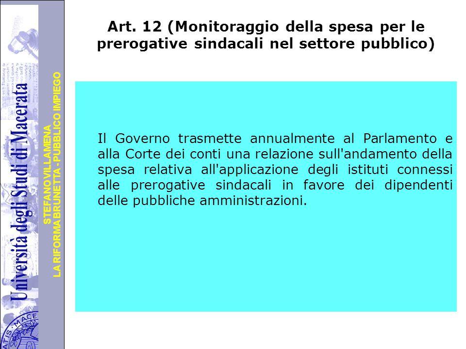Art. 12 (Monitoraggio della spesa per le prerogative sindacali nel settore pubblico)