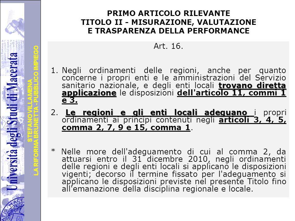 PRIMO ARTICOLO RILEVANTE TITOLO II - MISURAZIONE, VALUTAZIONE E TRASPARENZA DELLA PERFORMANCE