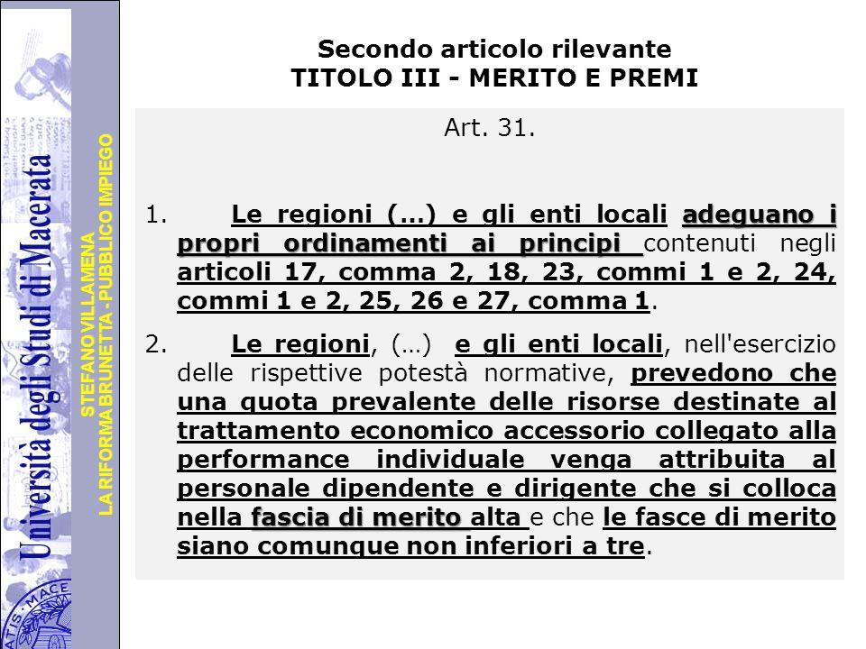Secondo articolo rilevante TITOLO III - MERITO E PREMI