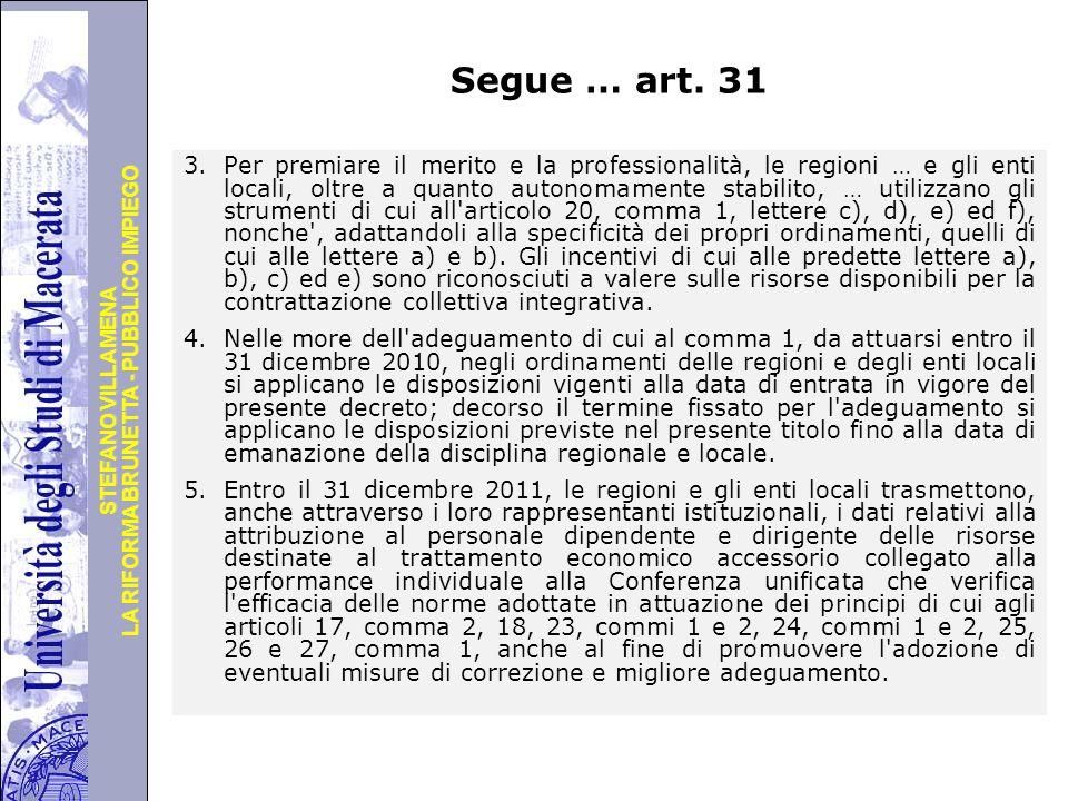 Segue … art. 31