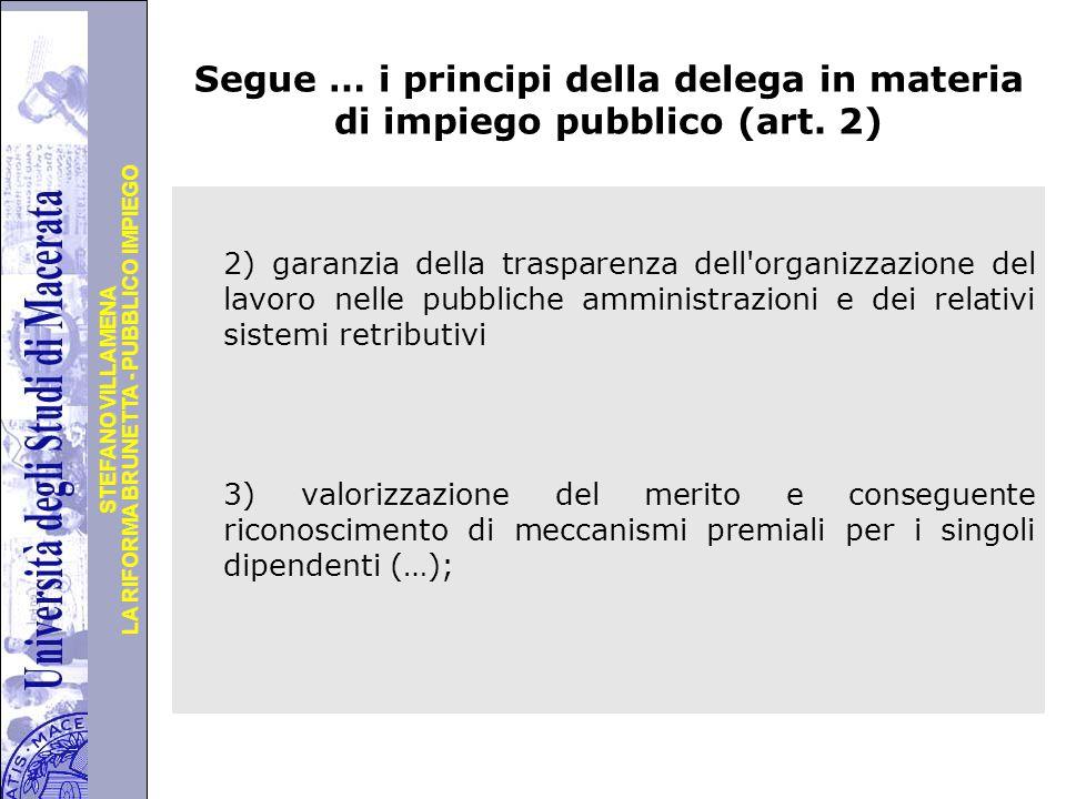Segue … i principi della delega in materia di impiego pubblico (art. 2)
