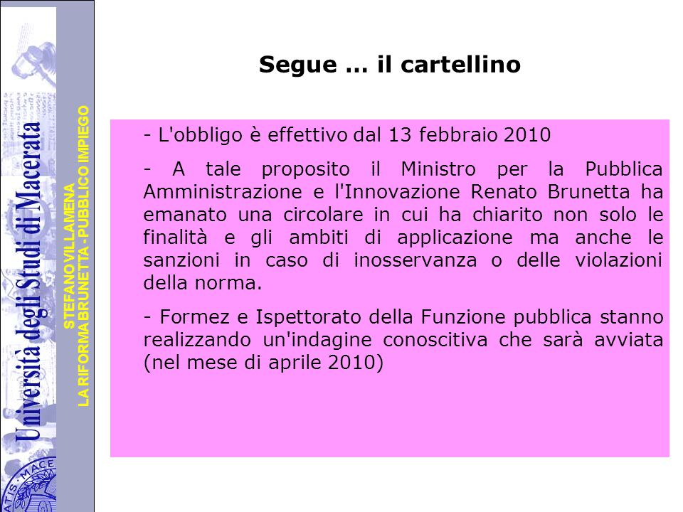 Segue … il cartellino
