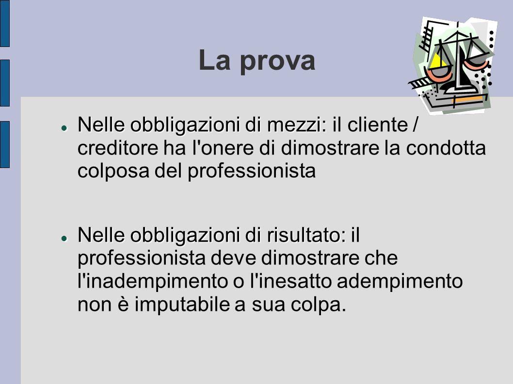 La prova Nelle obbligazioni di mezzi: il cliente / creditore ha l onere di dimostrare la condotta colposa del professionista.