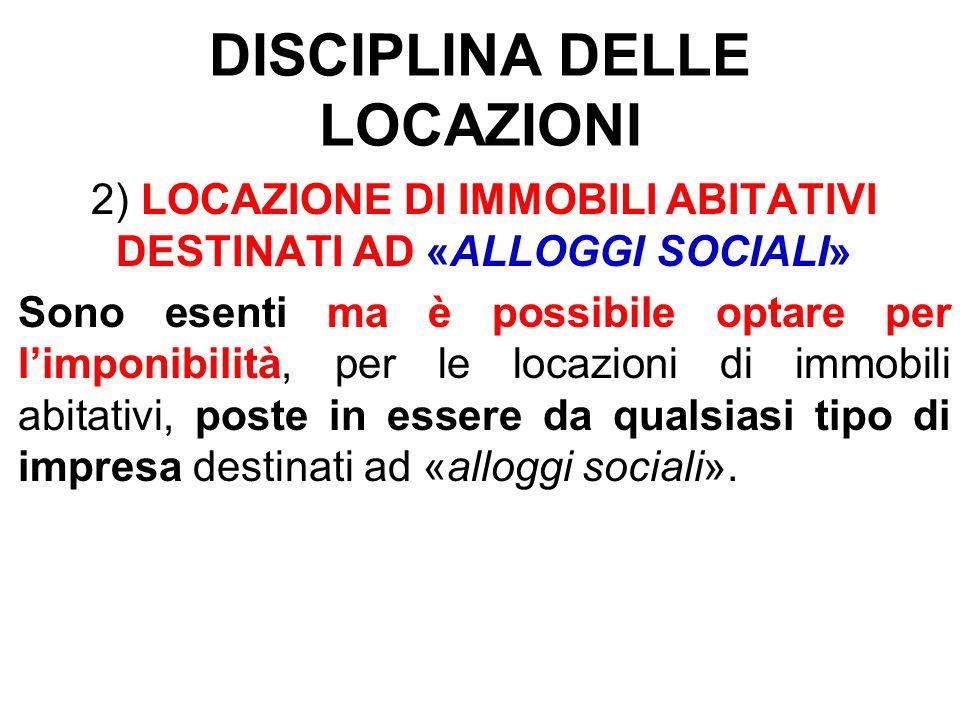 DISCIPLINA DELLE LOCAZIONI