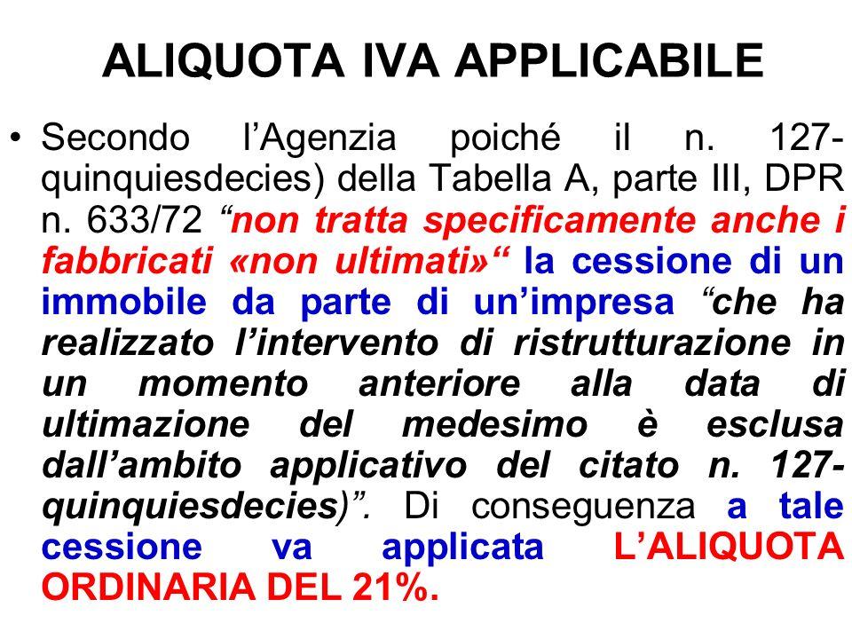 ALIQUOTA IVA APPLICABILE
