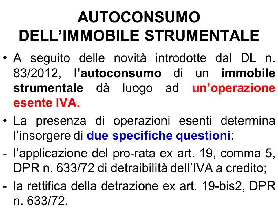 AUTOCONSUMO DELL'IMMOBILE STRUMENTALE