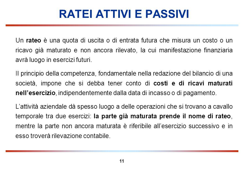 RATEI ATTIVI E PASSIVI