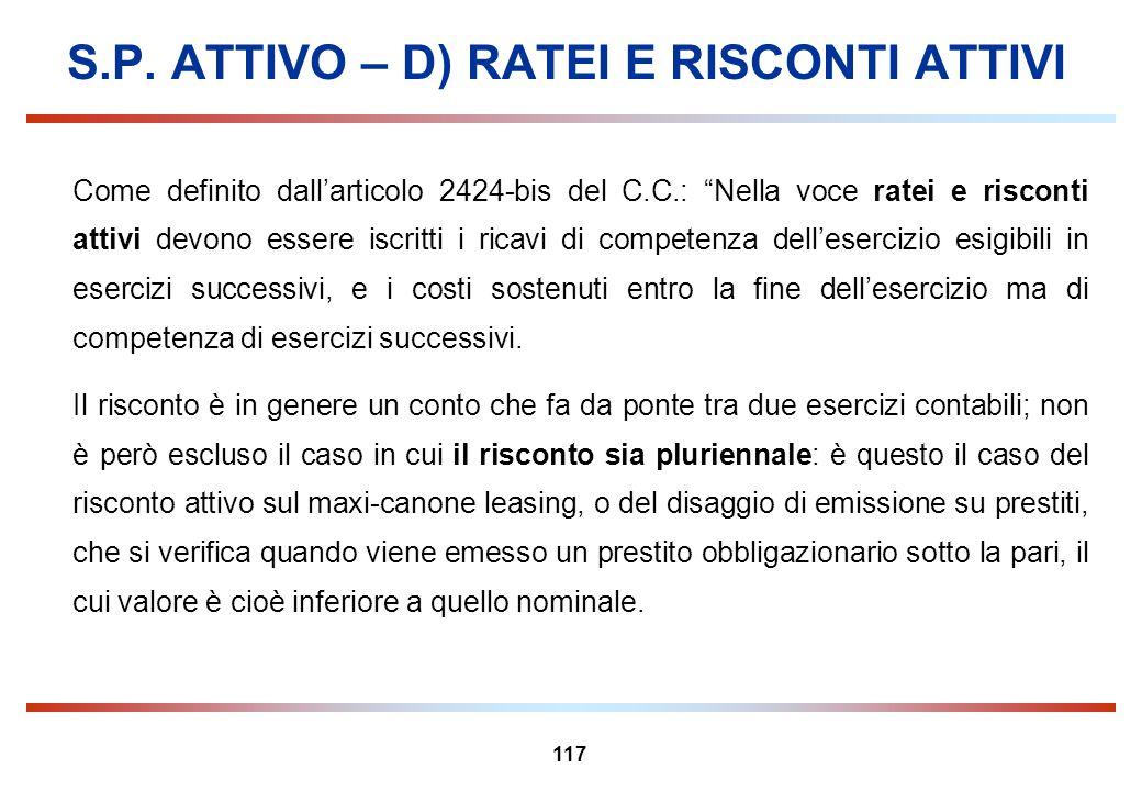 S.P. ATTIVO – D) RATEI E RISCONTI ATTIVI