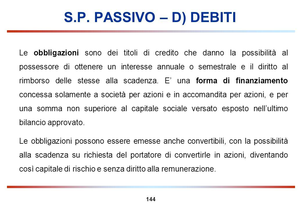 S.P. PASSIVO – D) DEBITI