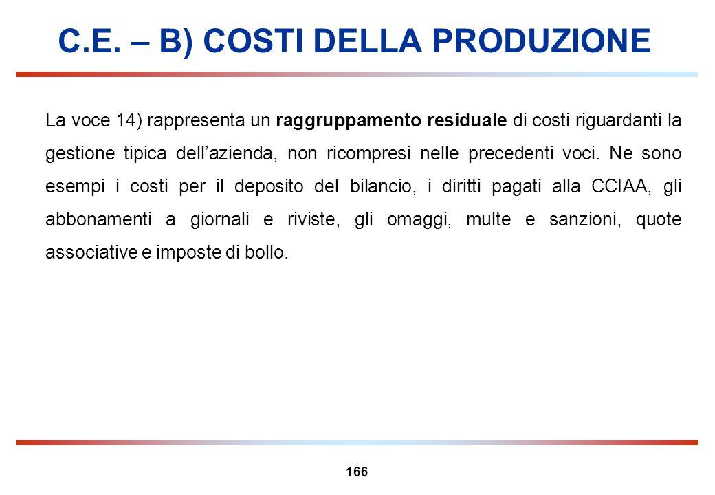 C.E. – B) COSTI DELLA PRODUZIONE