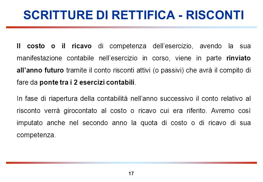 SCRITTURE DI RETTIFICA - RISCONTI