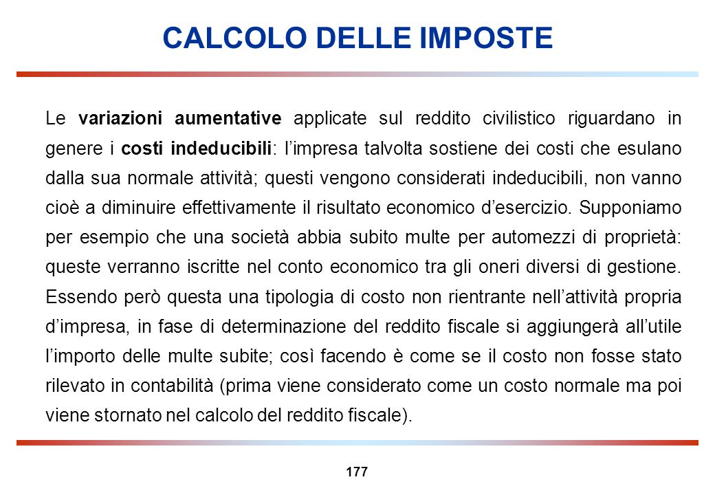 CALCOLO DELLE IMPOSTE