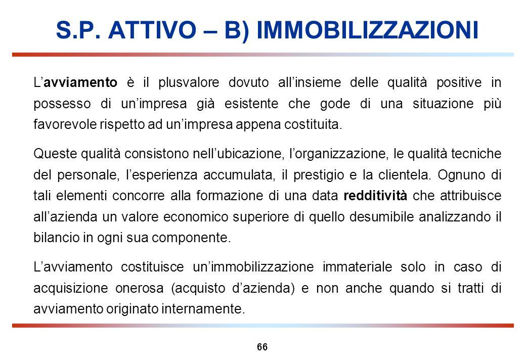 S.P. ATTIVO – B) IMMOBILIZZAZIONI