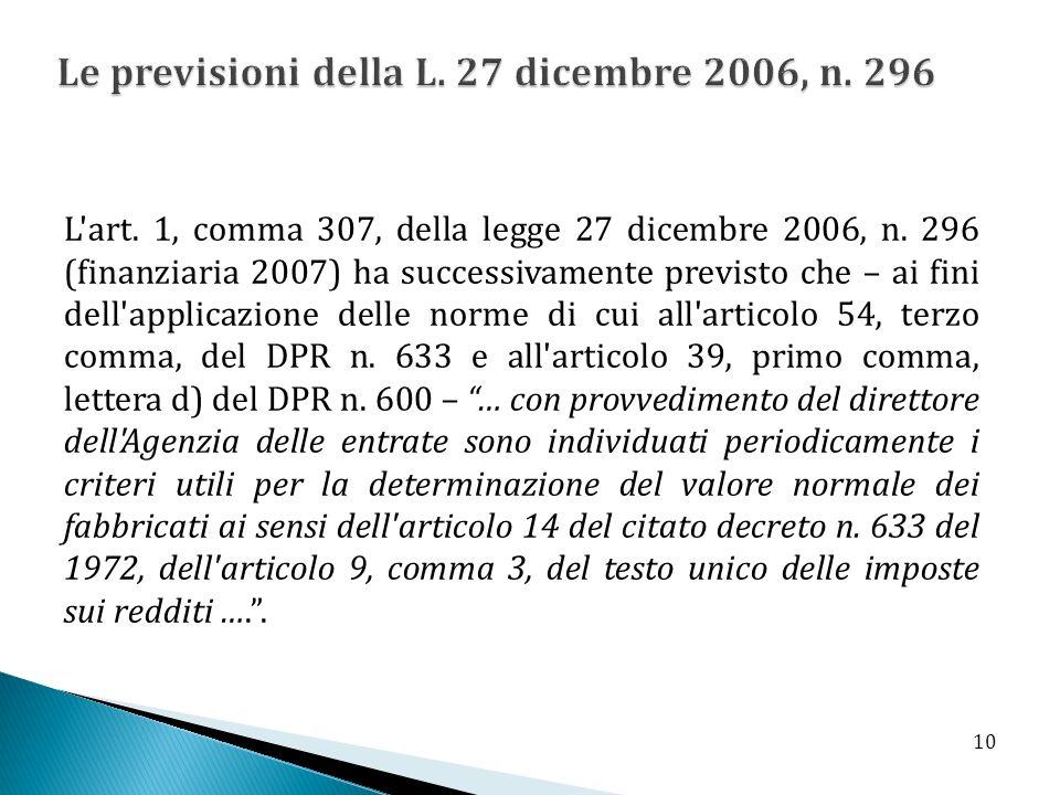 Le previsioni della L. 27 dicembre 2006, n. 296