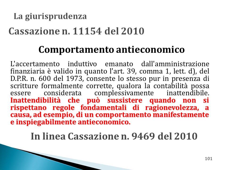 Comportamento antieconomico In linea Cassazione n. 9469 del 2010