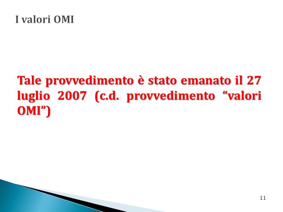 I valori OMI Tale provvedimento è stato emanato il 27 luglio 2007 (c.d. provvedimento valori OMI )