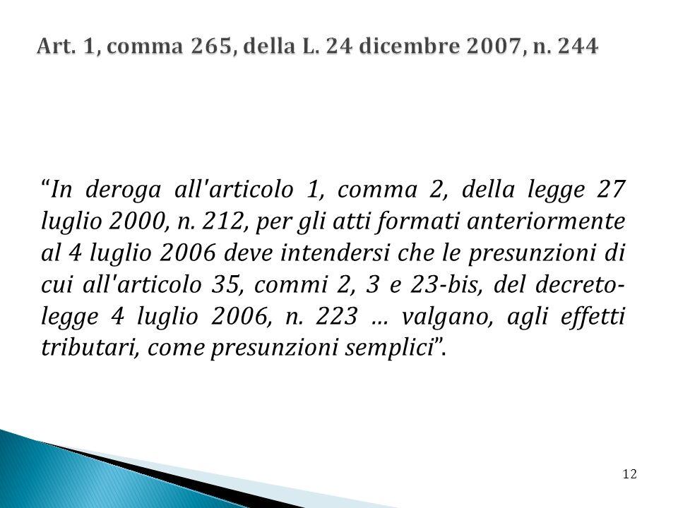 Art. 1, comma 265, della L. 24 dicembre 2007, n. 244
